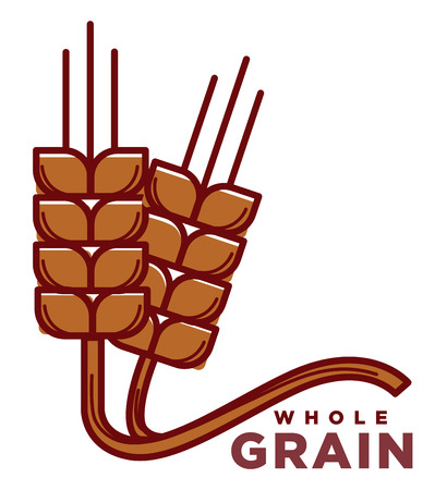 Whole grain product logotype with ripe wheat ears with long stems isolated cartoon flat vector illustration on white background. Healthy organic natural food advertisement with spikes from field.