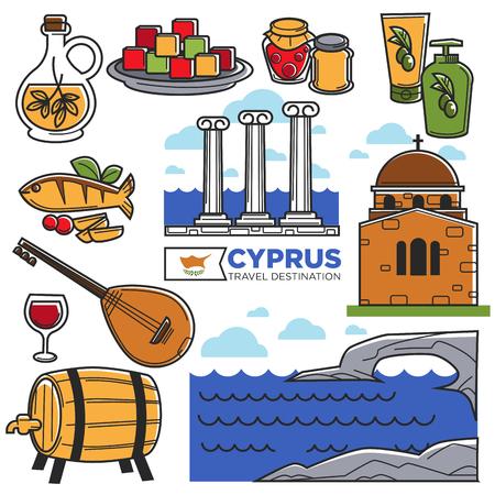 Cyprus travel landmarks symbols and tourist sightseeing vector icons