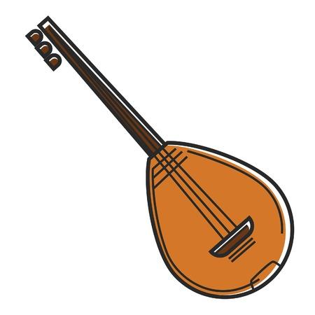 Bouzouki Cyprus national musical instrument national string guitar travel symbol vector icon