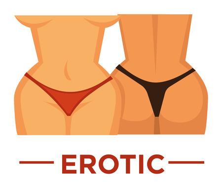 Movie genre icon logo erotic of girl woamn in bikini. Vector flat isolated symbol template for cinema or channel movie erotic genre emblem