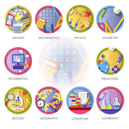 Ilustración de Learning and science disciplines for school or university study. - Imagen libre de derechos