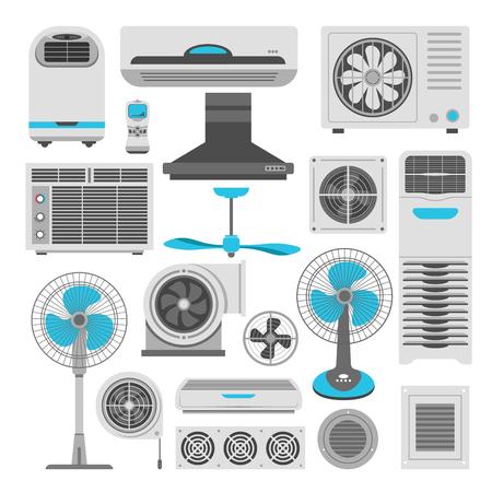 Ilustración de Air conditioners and fans or air purifiers humidifiers vector flat icons set - Imagen libre de derechos