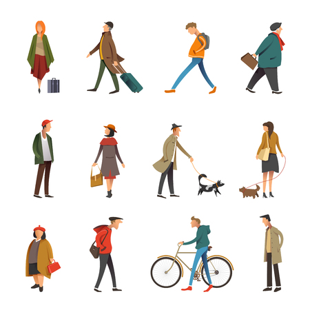 Ilustración de People in daily life outdoor activity icons. Vector flat set of young and adult woman or man walking dog or riding bicycle and holding travel or shopping bag, businessman and boy in casual clothes - Imagen libre de derechos