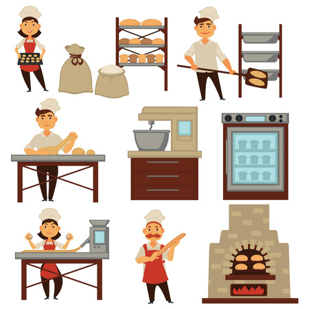 Illustration pour Baker in bakery shop baking bread process vector isolated profession people icons - image libre de droit