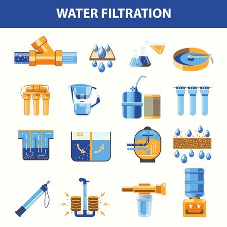 Illustration pour Water filtration processes with special modern technologies set - image libre de droit
