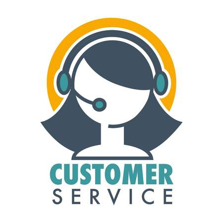 Vektor für Customer service promotional emblem with woman operator in headset. Informative help about bought product logo. Aid line emblem isolated cartoon flat vector illustration on white background. - Lizenzfreies Bild