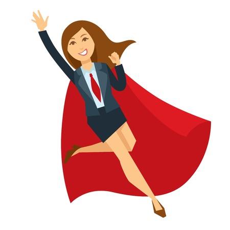 Ilustración de Superwoman in office skirt suit and red cloak - Imagen libre de derechos