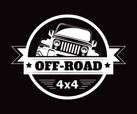 Illustration pour Off-road 4x4 extreme car adventure club vector icon - image libre de droit