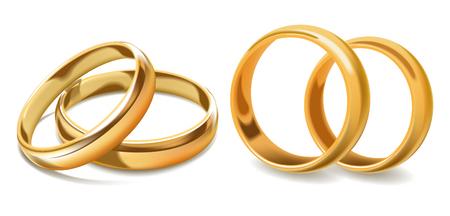Photo pour Golden wedding rings vector 3d icons - image libre de droit