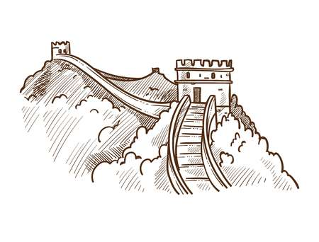 Illustration for Great wall of China monochrome sketch outline. Famous landmark made of stone and concrete, nature surrounding of tourist attraction. Oriental wonder place to go sightseeing vector illustration - Royalty Free Image
