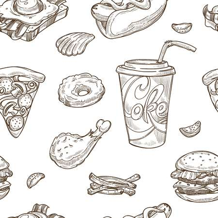 Illustration pour Fast food sketch pattern background. Vector seamless design of cheeseburger, hamburger burger and hot dog sandwich, pizza and ice cream or donut dessert and drinks - image libre de droit