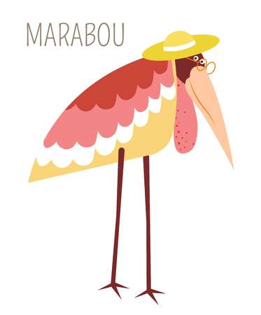 Illustration pour Marabou bird in straw hat childish book character. Stork with pink plumage in glasses and headdress on long legs. Wild humanized animal cartoon picture with species name isolated vector illustration. - image libre de droit