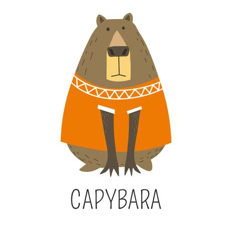 Illustration pour Capybara Hydrochoerinae family representative, mammal wearing knitted sweater decorated with ornaments vector. Animal originating from Sough America, natural wildlife, cute character in clothes - image libre de droit