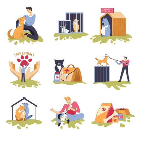 Illustration pour Canine and feline shelter dogs and cats house - image libre de droit