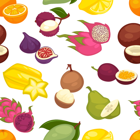 Tropical fruits set seamless pattern. Citrus lemon and orange