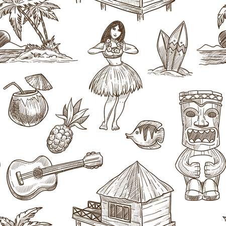 Illustration for Hawaii travel sketch pattern background. Vector seamless tropical exotic design of Hawaiian symbols Honolulu aloha dancer with guitar, coconut and tribal mask or hut on palm beach - Royalty Free Image