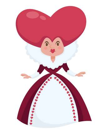 Illustration pour Alice in Wonderland isolated female character vector Queen of Hearts with heart-shaped head in ball gown fairy tale personage royalty woman childish book fantastic woman adventurous literature. - image libre de droit