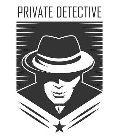 Vektor für Private detective logo of vector man in hat for investigation service agency - Lizenzfreies Bild