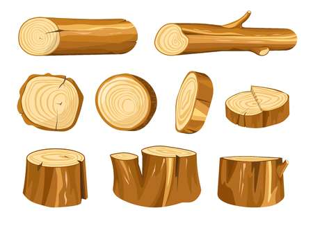 Illustration pour Forest stump and log wood and wooden natural materials vector building and heating oak or fir tree parts beam or timber baulk round section construction and furniture making isolated objects. - image libre de droit