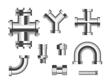Illustration pour Steel pipes metal pipeline vector isolated objects connectors fittings valves industrial plumbing water and gas pipeline and pipe part sewerage bathroom or kitchen manufacturing details canalization. - image libre de droit