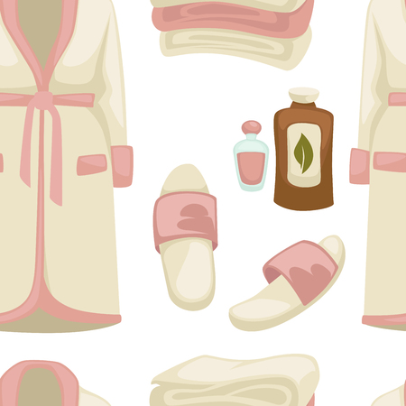 Illustration pour Massage oil spa procedure bathrobe and sleepers seamless pattern vector beauty salon clothes and aroma liquids endless texture cosmetic means outfit garments and footwear repeated in wallpaper. - image libre de droit