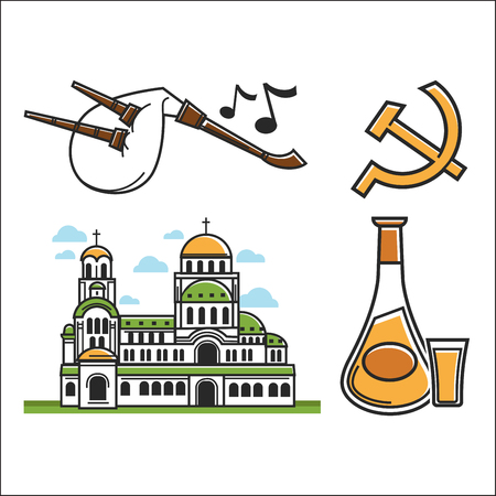 Traveling Bulgaria symbols architecture and music drink and Soviet Union sign vector Alexander Nevsky Cathedral and bagpipes rakia hammer and sickle Bulgarian travel attractions European tourism.