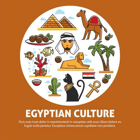 Travel to Egypt architecture cuisine and animals Egyptian culture vector pyramids and camel palms and sphinx coptic cross and cat bedouin and arab man and meat balls coral reef and cactus flag.