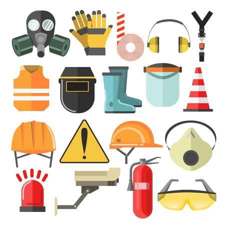Illustration pour Mask and helmet goggles and respirator protective gear and equipment vector hardhat and construction vest headphones and caution stripe rubber boots and surveillance camera siren and fire extinguisher. - image libre de droit