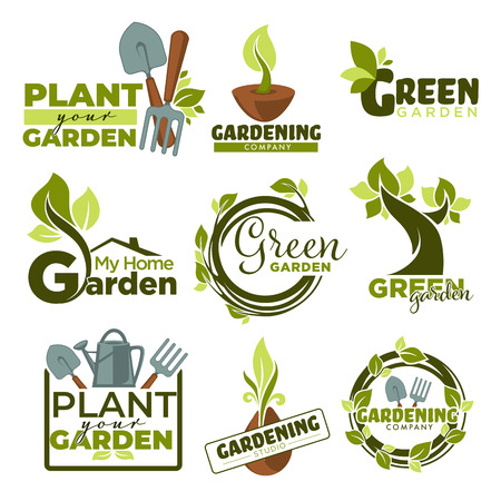 Illustration pour Green garden isolated icons gradening tools and plants - image libre de droit