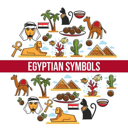 Egypt symbols and Egyptian culture architecture and cuisine animals