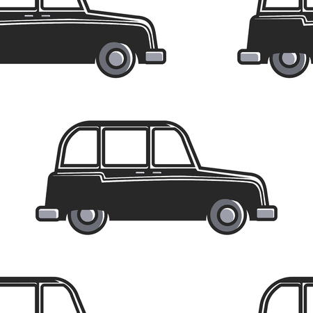 Illustration for London symbol English cab seamless pattern car or taxi vector transport and transportation retro vehicle England culture endless texture tourism and attraction automobile wallpaper print motorcar. - Royalty Free Image