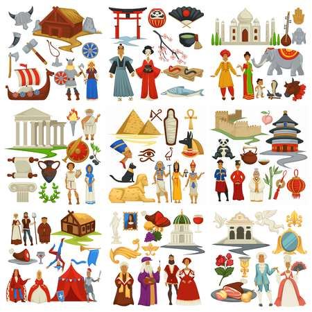Illustration pour World history and countries culture traveling and exploration epochs - image libre de droit