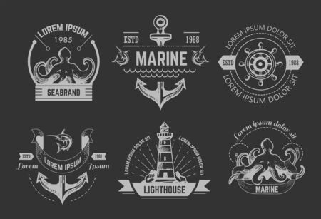 Illustration for Nautical or marine symbols isolated icons octopus and anchor - Royalty Free Image