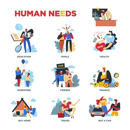 Illustration pour Human needs, material or spiritual, lifestyle and everyday routine - image libre de droit