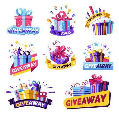 Illustration for Giveaway isolated icons, social media contest prizes - Royalty Free Image