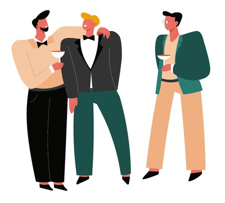 Illustration pour Wedding day, groom with friends, bestman and groomsmen or ushers - image libre de droit