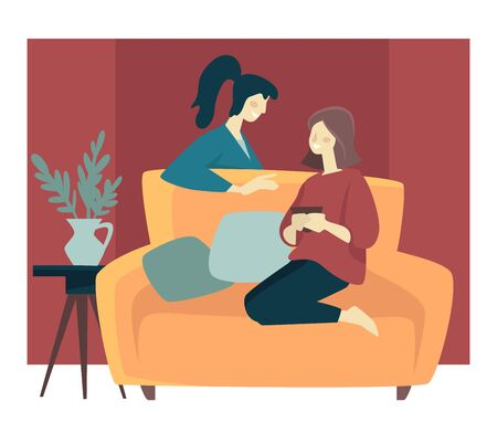 Illustration pour Girlfriends spending cozy winter evening and sitting on sofa - image libre de droit