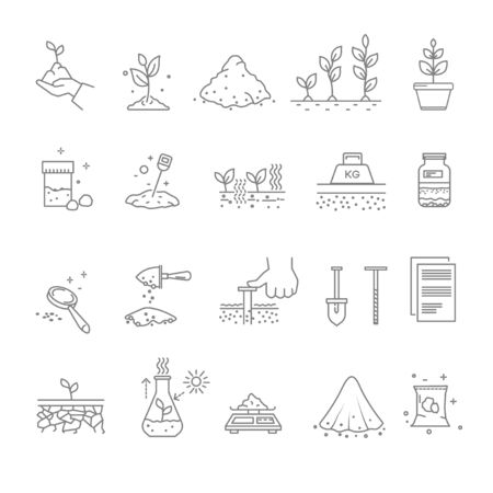 Illustration for Priming works, gardening and horticulture, landscaping isolated icons - Royalty Free Image