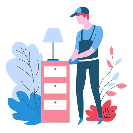 Cleaning agency service dust wiping isolated abstract icon vector housework and housekeeping furniture washing plant leaves dirt removal bedside table and lamp man in uniform dusting with duster cloth