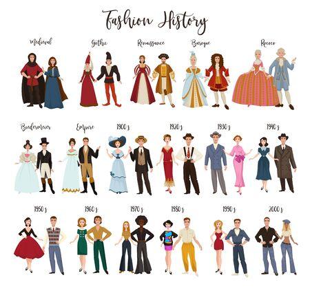 Illustration pour Fashion history clothes design and dressing historical epochs - image libre de droit