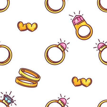 Illustration pour Engagement and wedding rings old hearts seamless pattern - image libre de droit