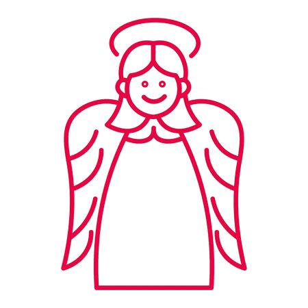 Illustration for Christmas angel with halo and wings liner icon in red - Royalty Free Image