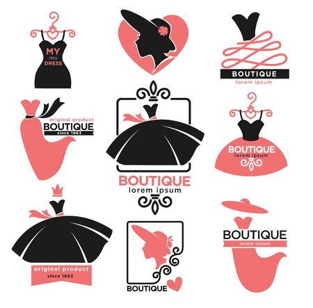 Illustration for Female clothes shop or fashion boutique isolated icons - Royalty Free Image