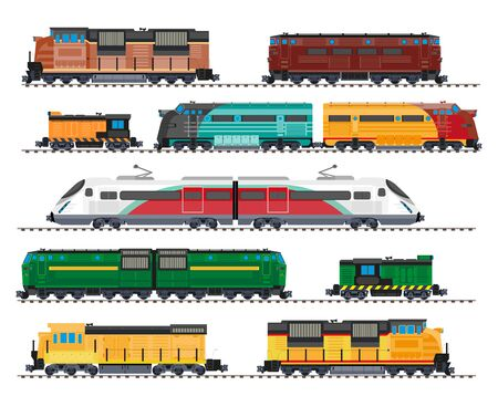 Illustration pour Electric and diesel locomotives, high speed train, cargo wagons isolated icons - image libre de droit