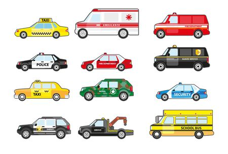 Illustration for Service and emergency response vehicle cars set, side view. Police car, ambulance van, school bus, taxicab. Municipal departments transportation with badges. Vector illustrations on white background. - Royalty Free Image