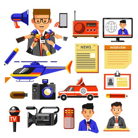 Illustration pour News broadcasting or press and media icons collection - image libre de droit