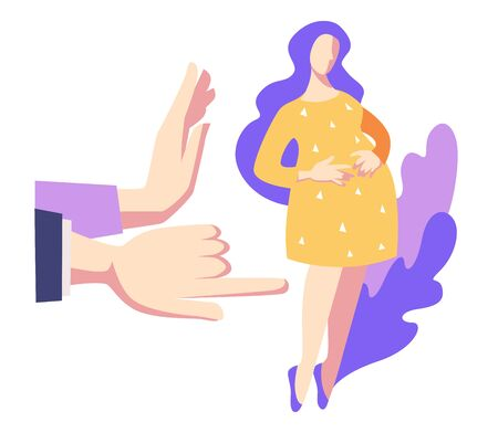 Vektor für Sad young woman or unhappy pregnant teenage girl and public disapproval or discrimination vector. Social problem of adolescent or teen pregnancy, society violence. Immature mother, pointing finger - Lizenzfreies Bild
