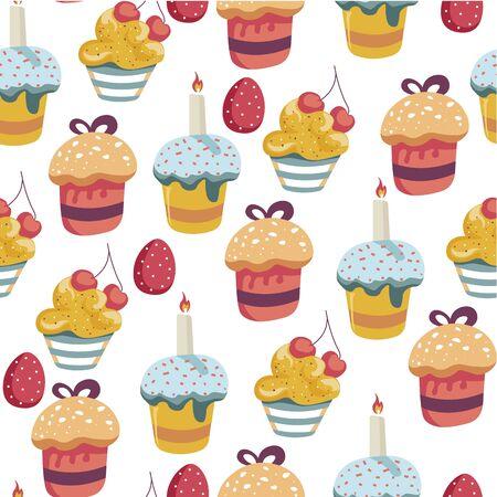 Illustration pour Easter holiday celebration egg and cake seamless pattern - image libre de droit