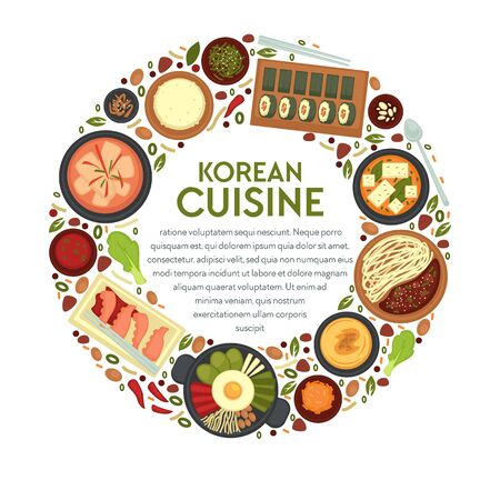 Korean cuisine, round banner template with text vector