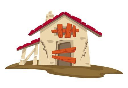 Illustration pour Abandoned construction in rural area, shed or barn - image libre de droit